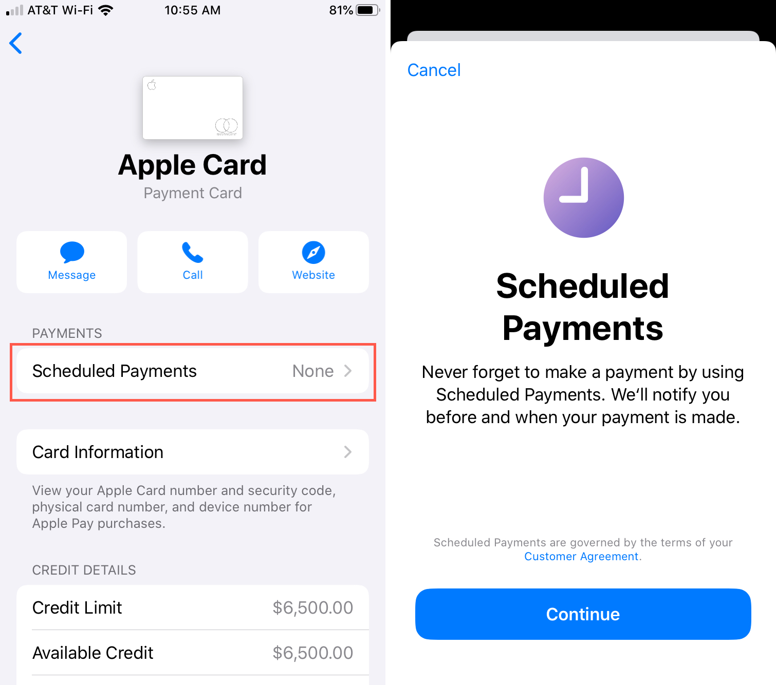 Setup Scheduled Payments for Apple Card