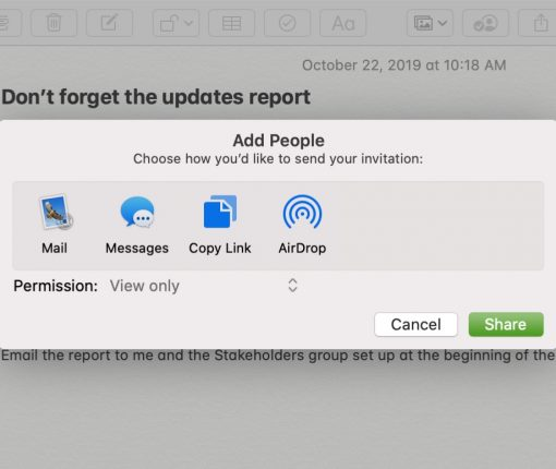 Share Notes Folders View Only Mac