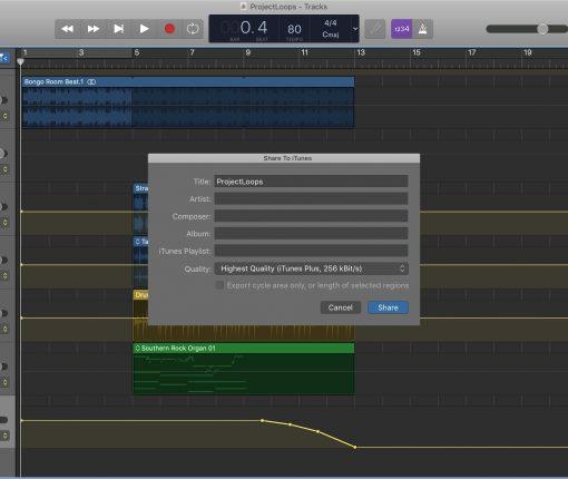 Share a song in GarageBand on Mac