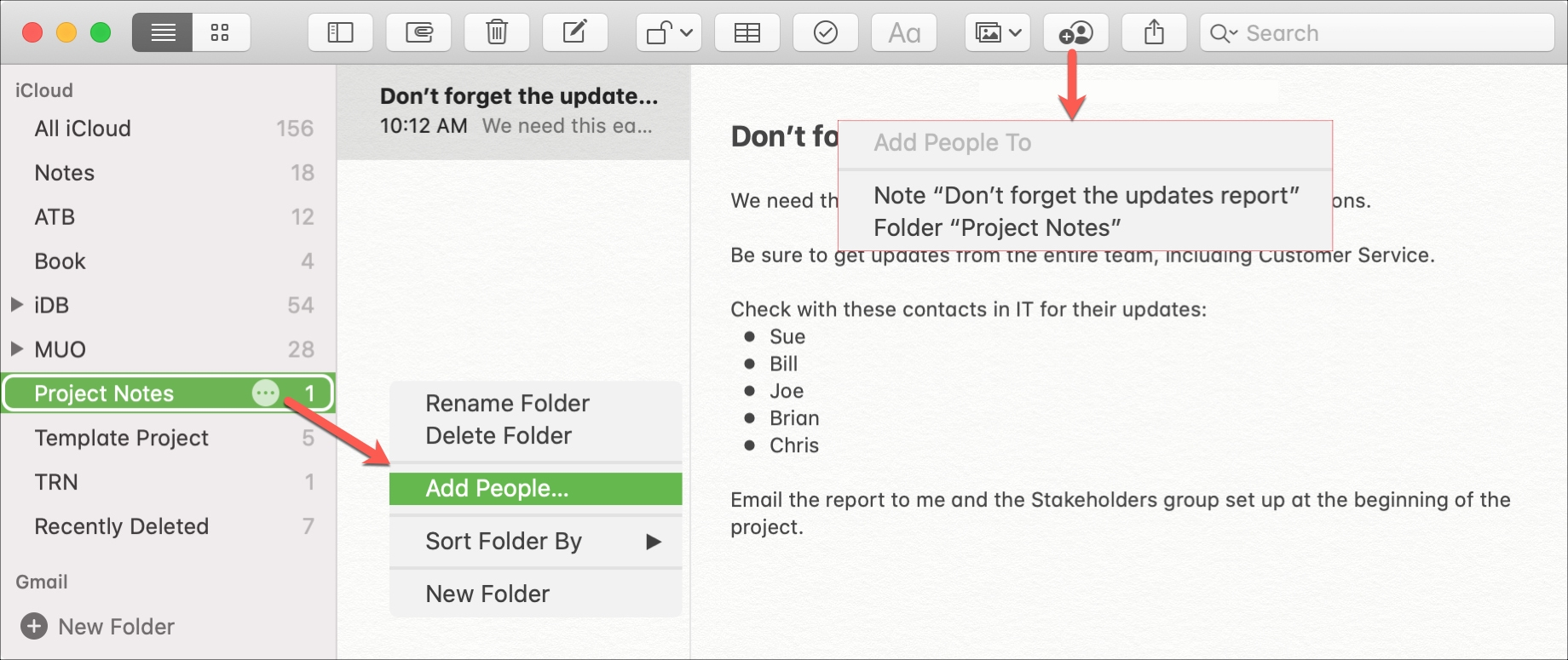 Share in Notes Mac