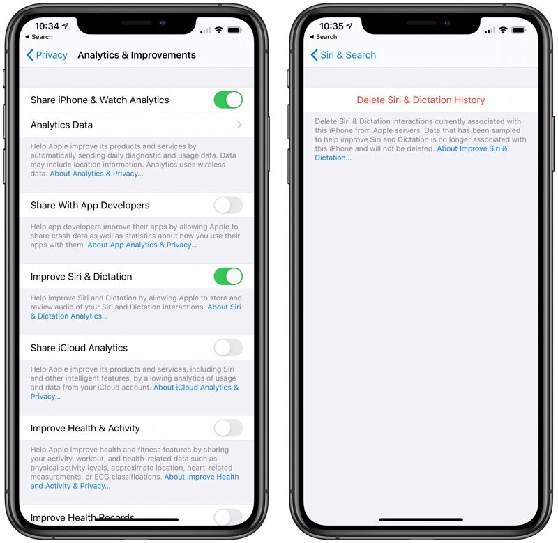 Apple adds ability to delete Siri and Dictation history in iOS 13.2