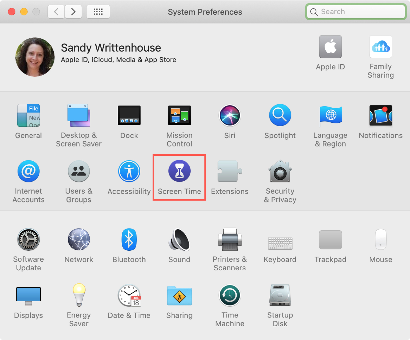 System Preferences Screen Time Mac