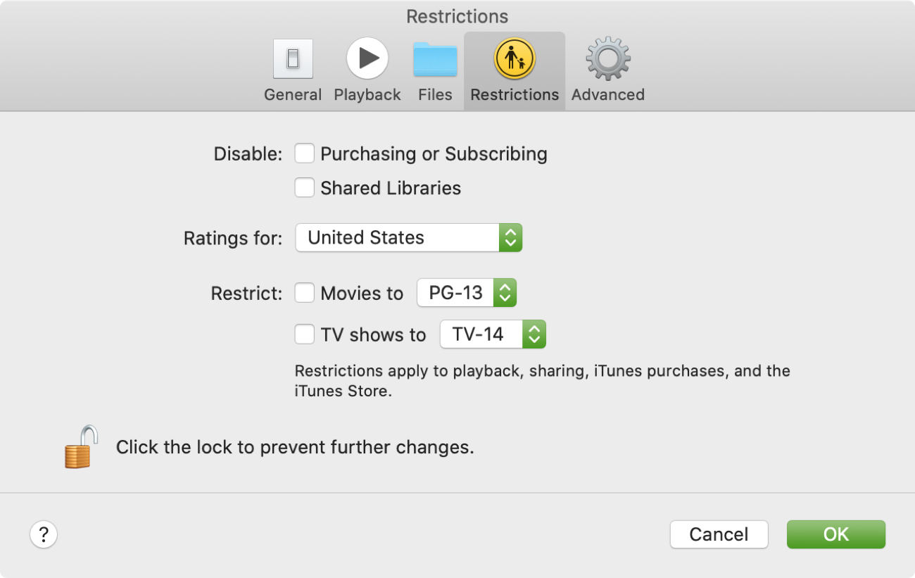 TV app restrictions on Mac
