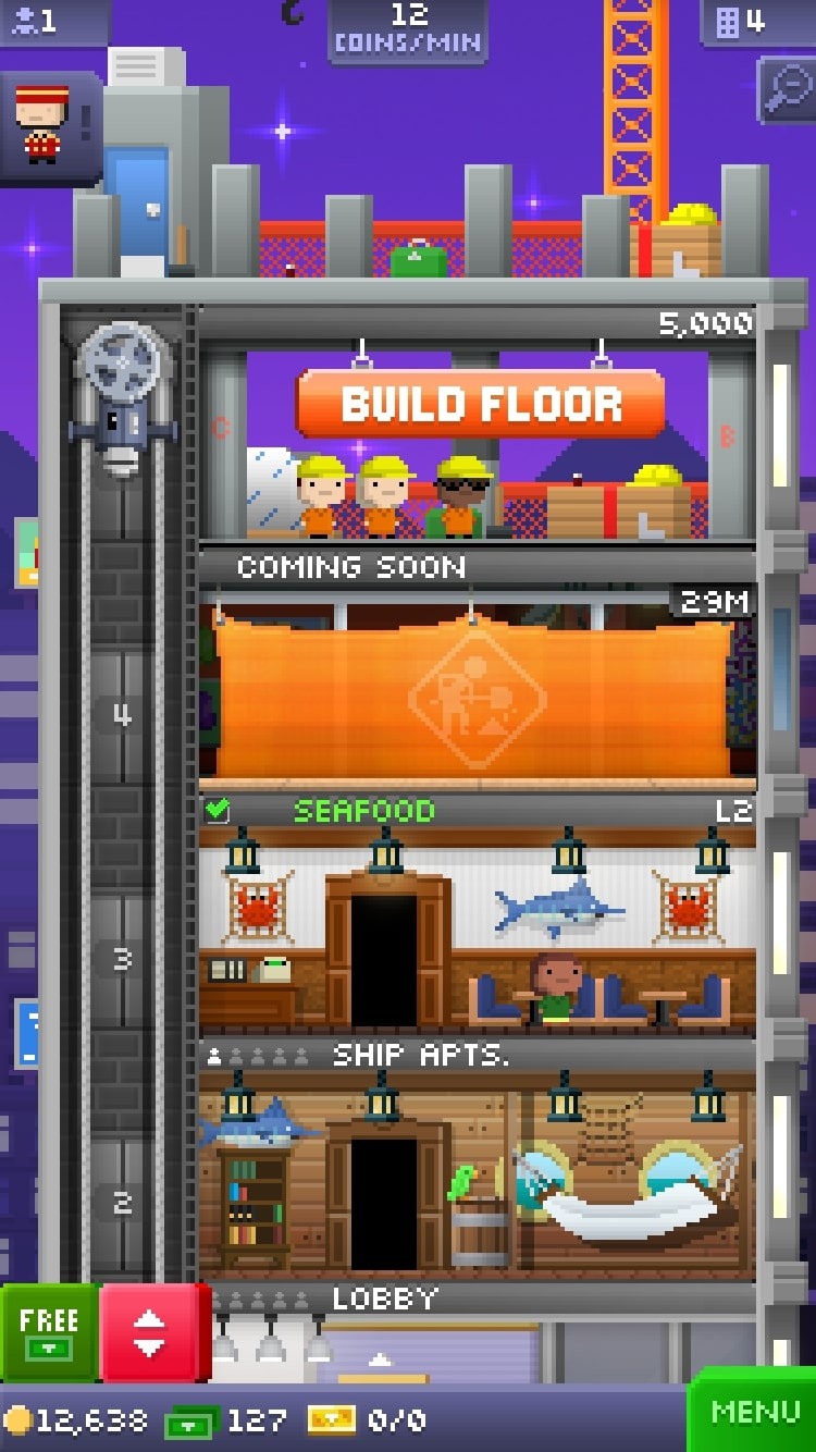 Tiny Tower - Construir pisos
