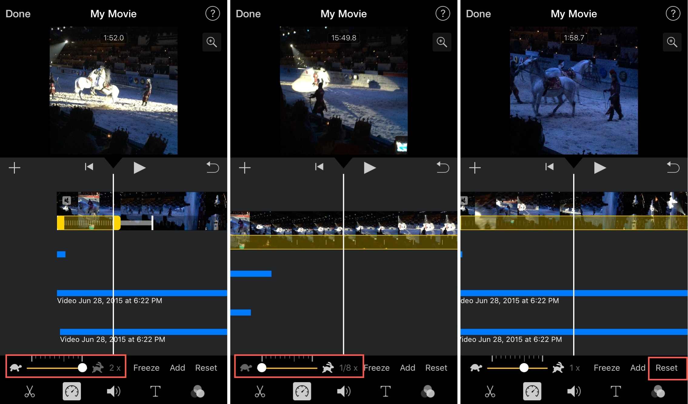 iMovie Adjust Reset Speed iPhone
