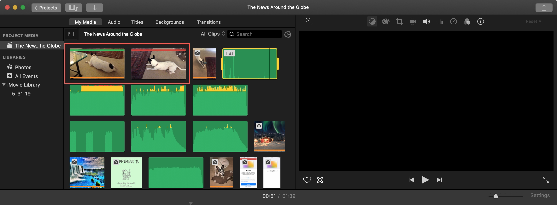 iMovie Favorite Reject Displays Mac