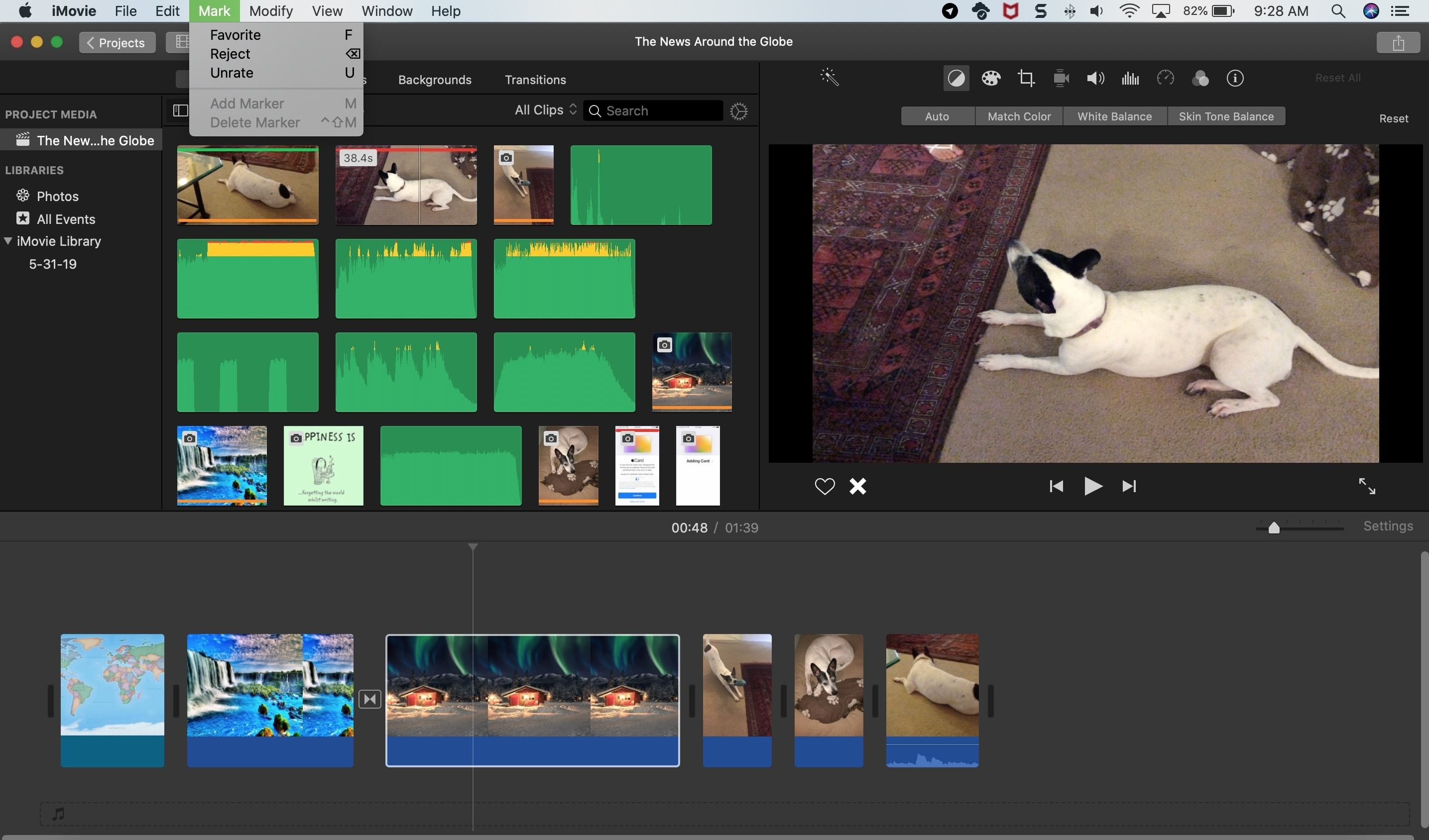 How to rate clips in iMovie as favorites or rejected on Mac
