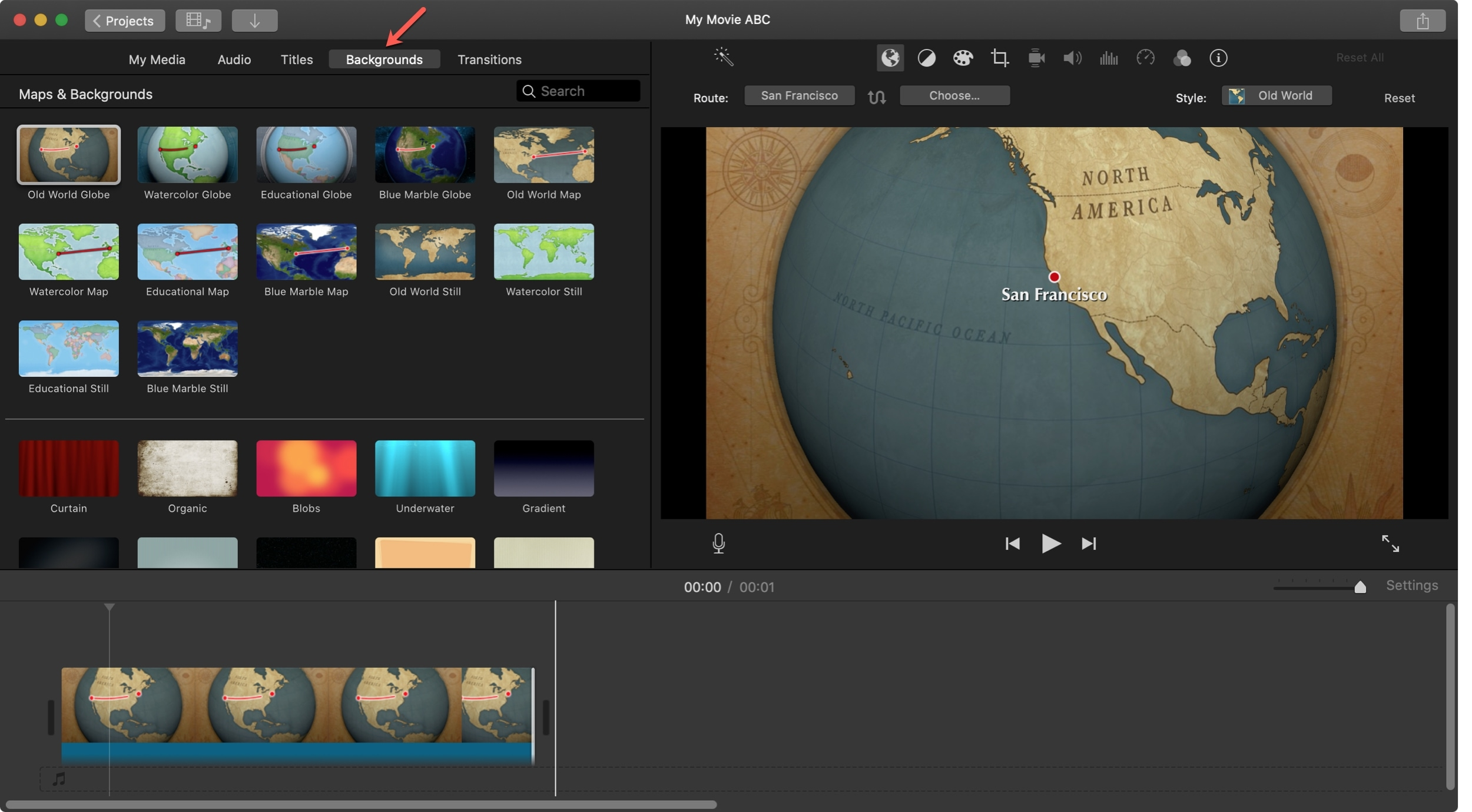 Add animated map background iMovie Mac