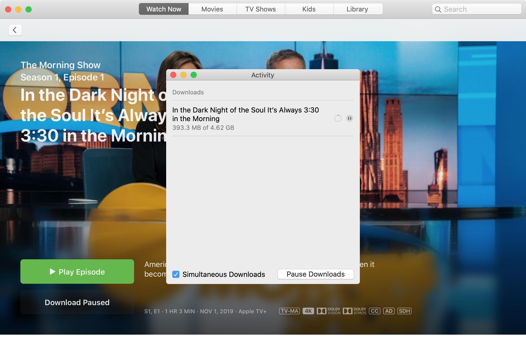 Apple TV+ Download Paused Mac