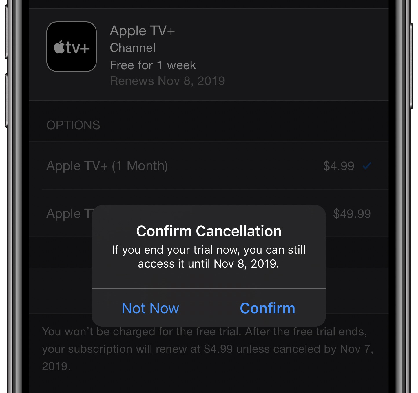 Your 7-day free Apple TV+ trial should be cancelled immediately.