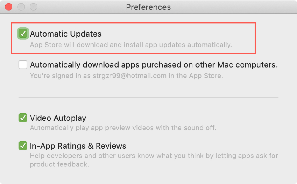 Automatic App Updates Mac App Store
