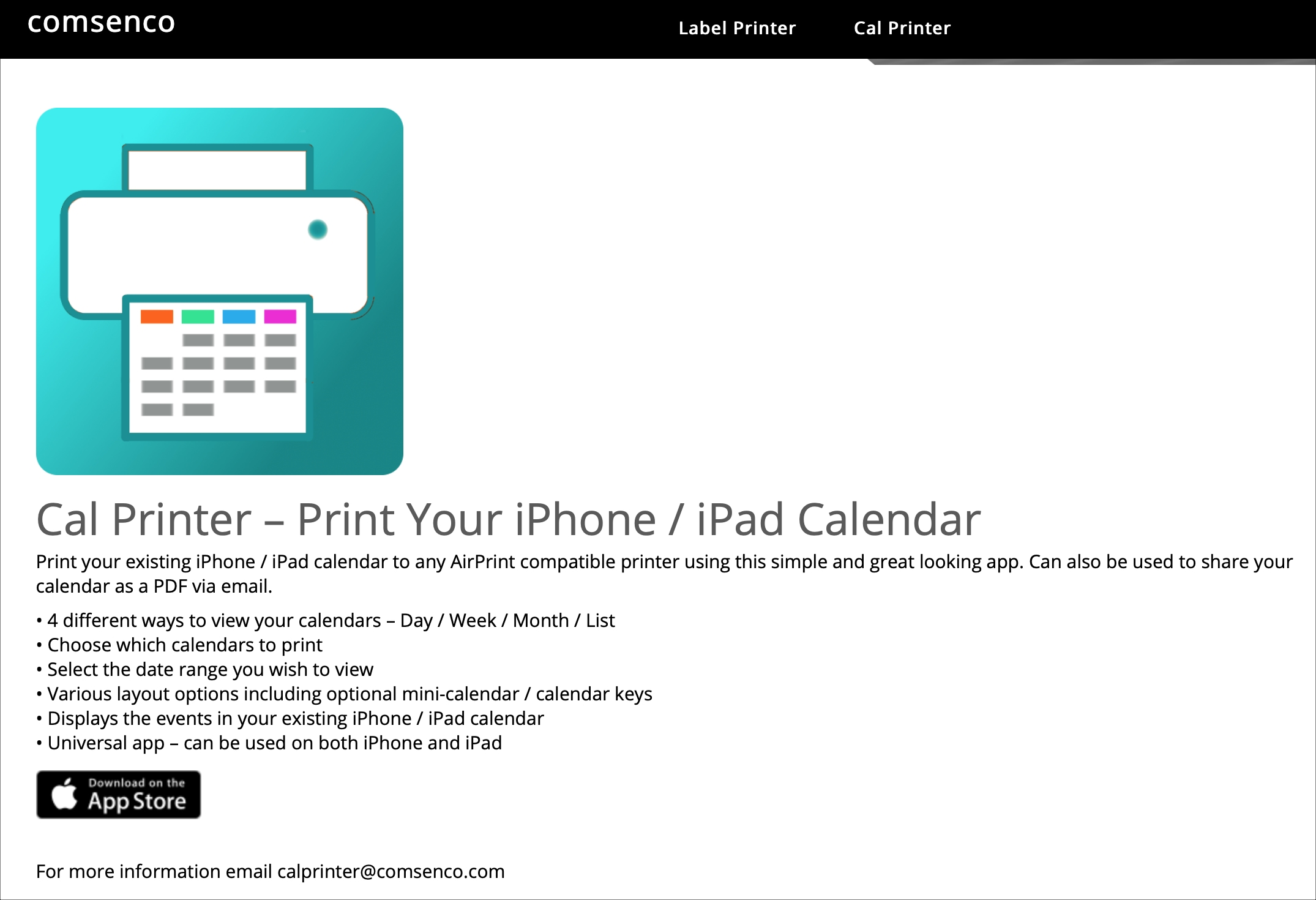 Cal Printer for iPhone iPad