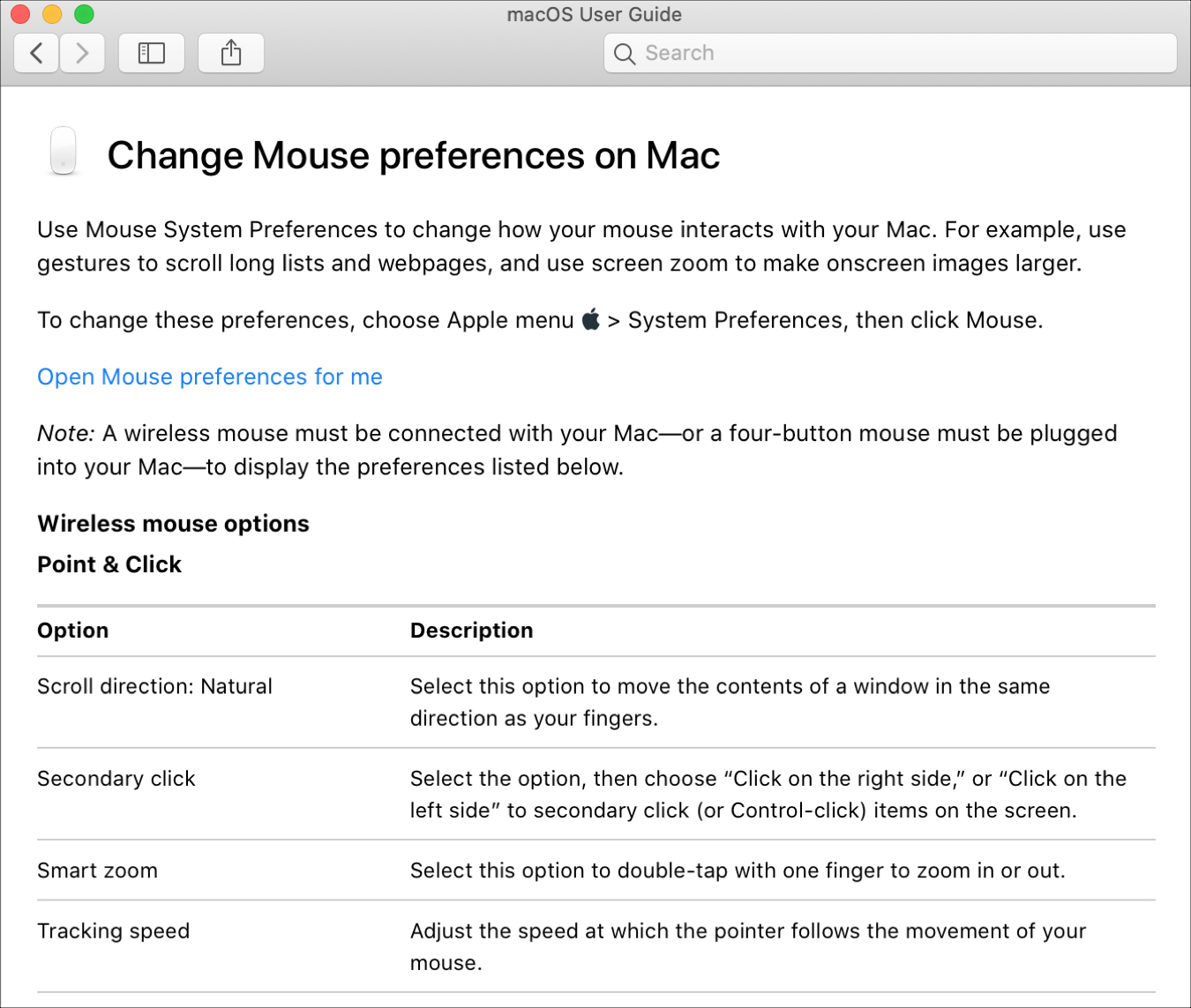 Change Mouse Preferences Help