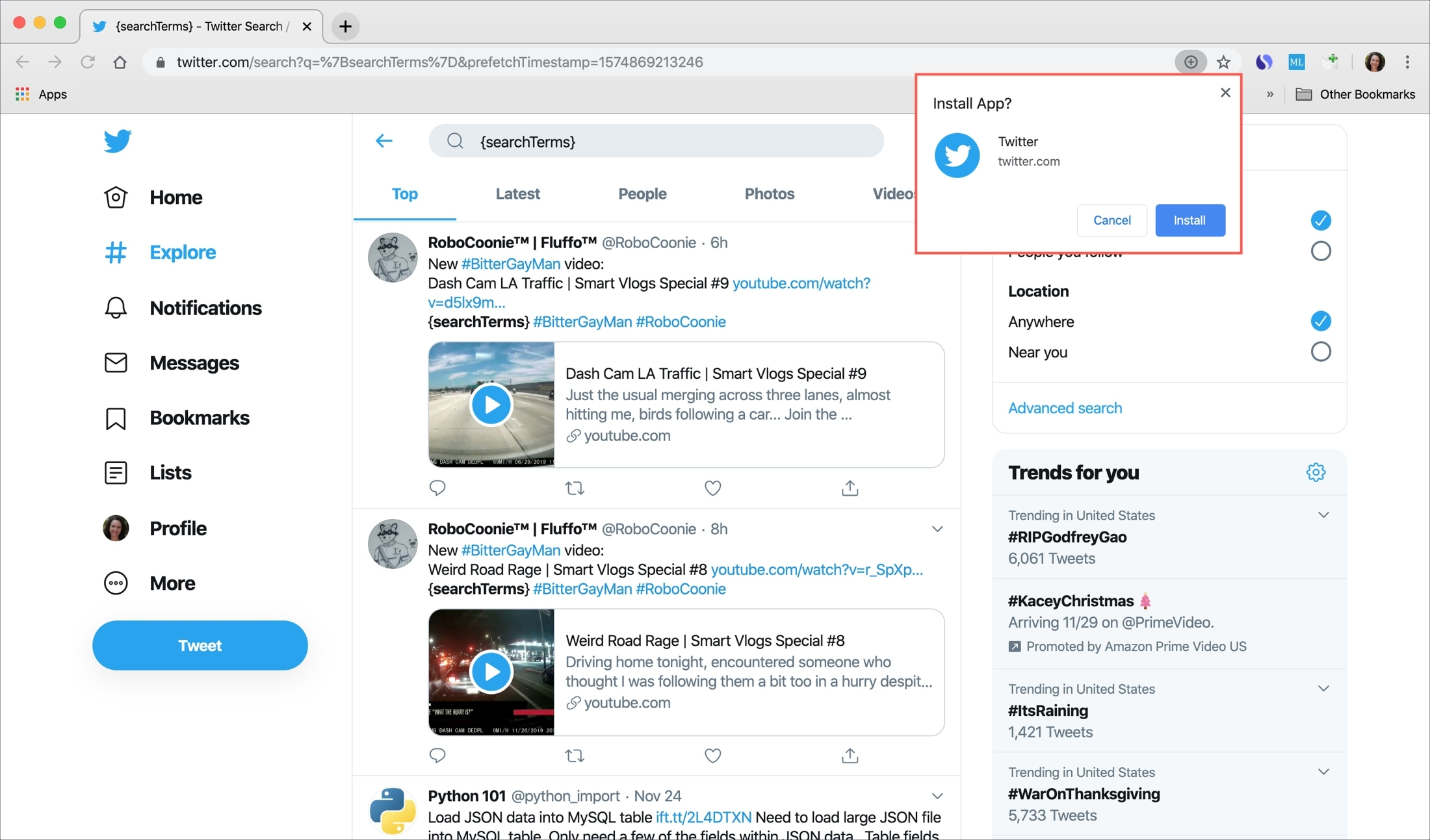 Chrome Install Twitter Pop-up
