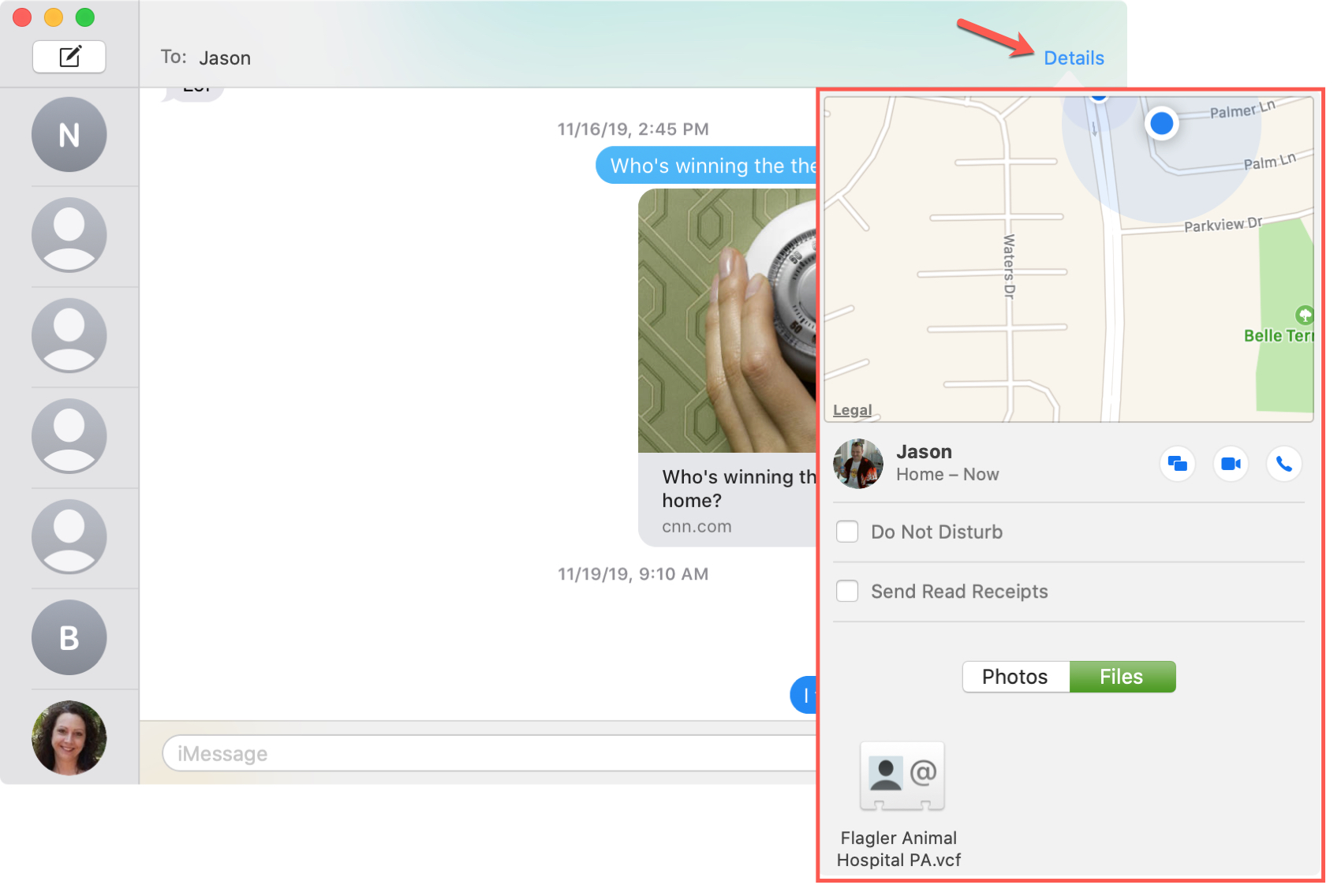 Contact Details Actions Messages Mac