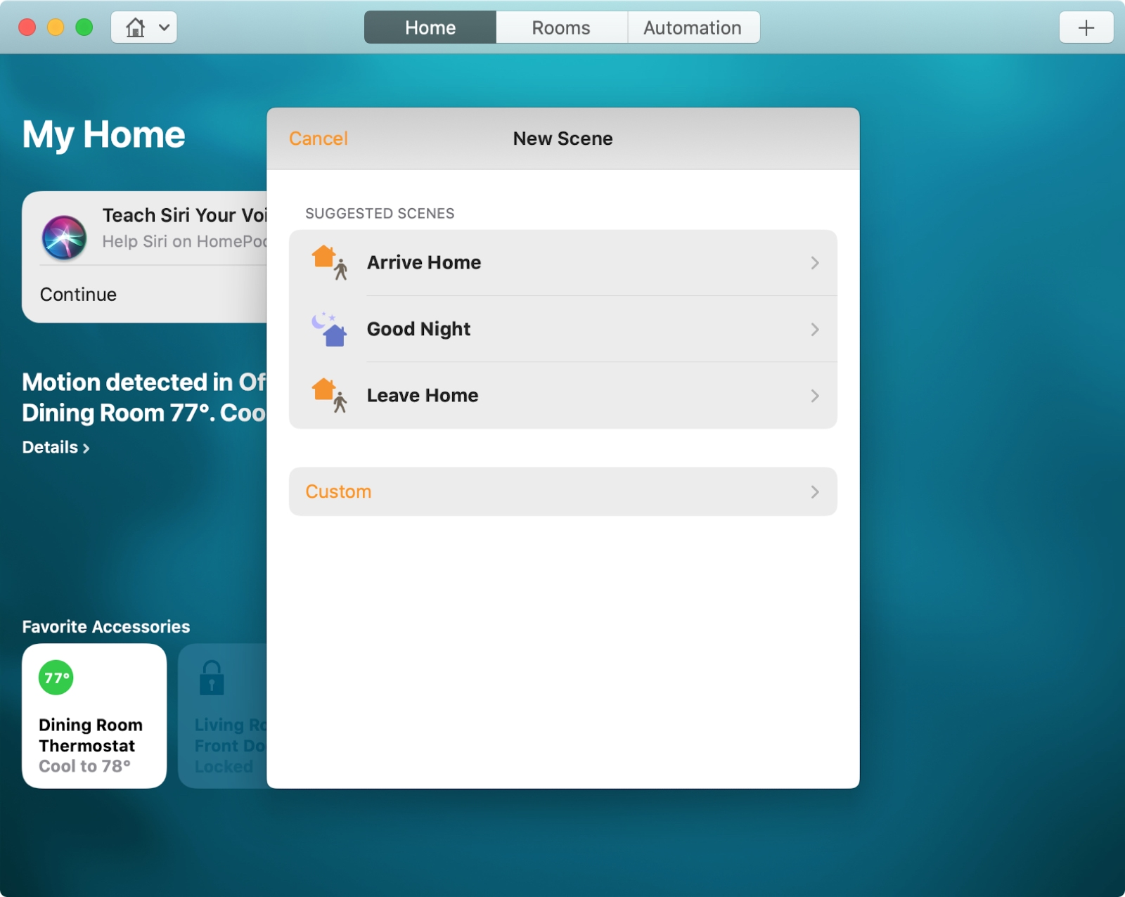 Create Scene Home App Mac