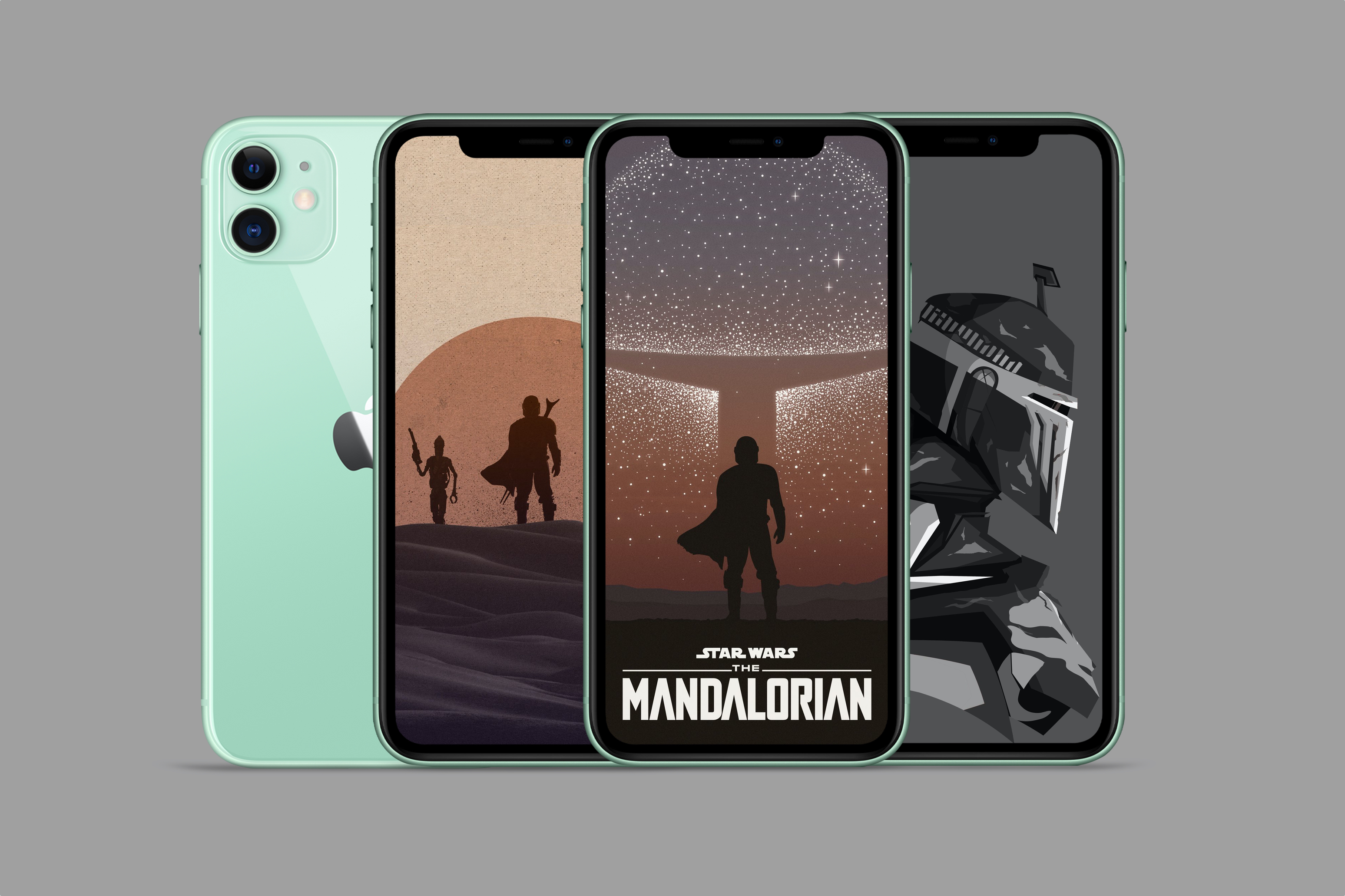 Disney Star Wars Mandalorian iPhone Wallpaper mockup