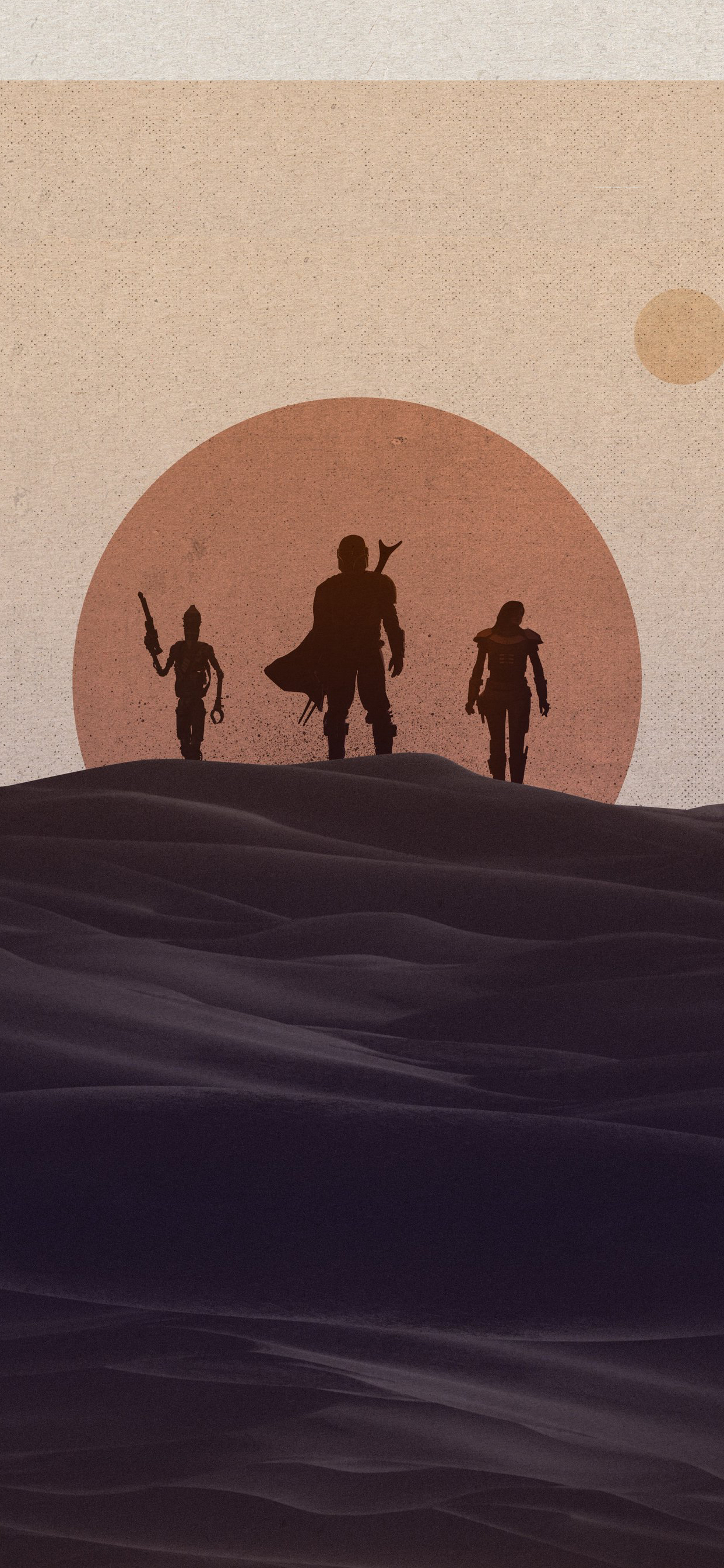 Disney Star Wars Mandalorian iPhone Wallpaper sunset needledesign