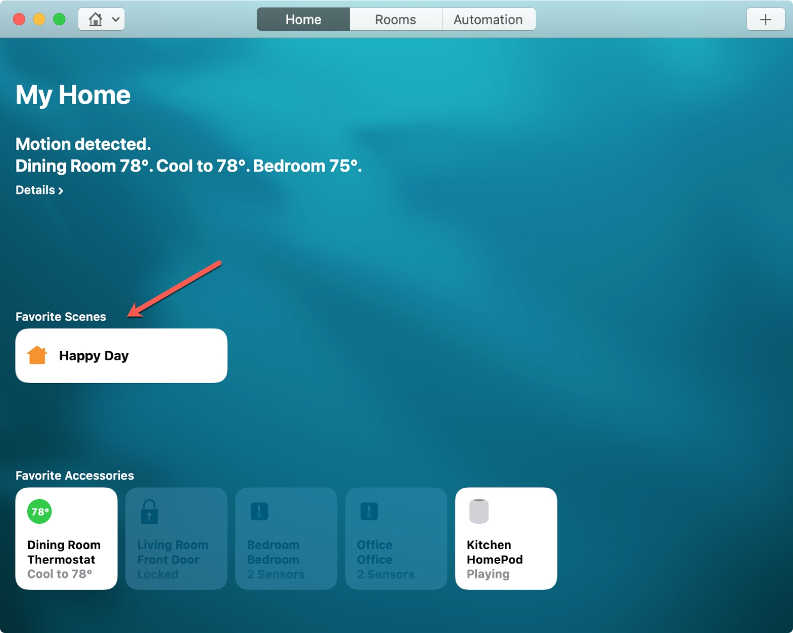 Favorite Scenes Home App Mac