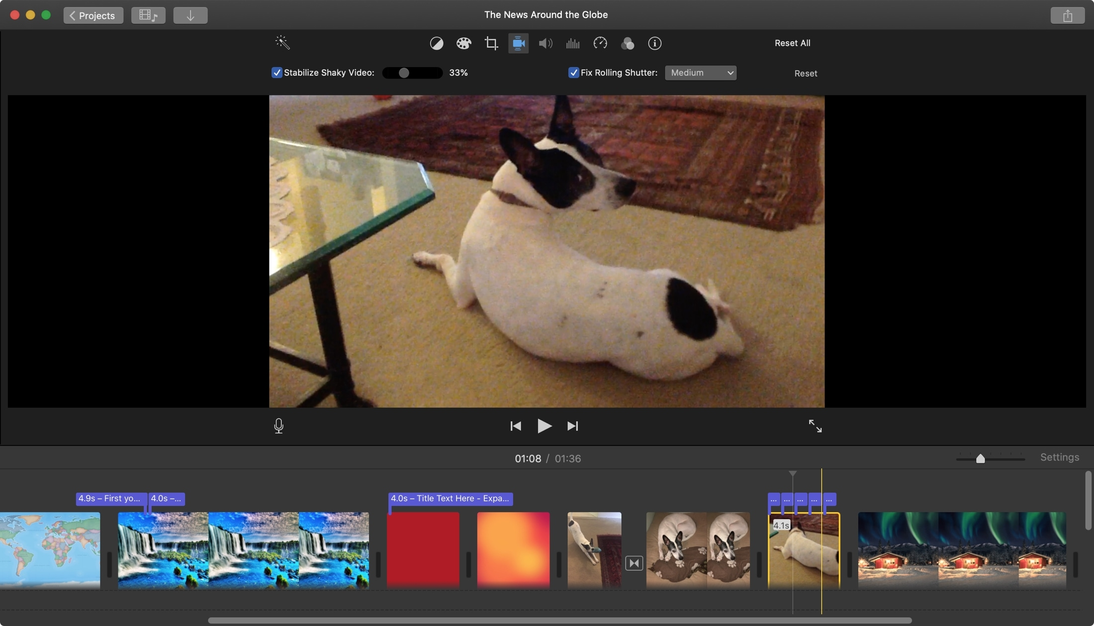 How to fix shaky video and rolling shutter in iMovie on Mac