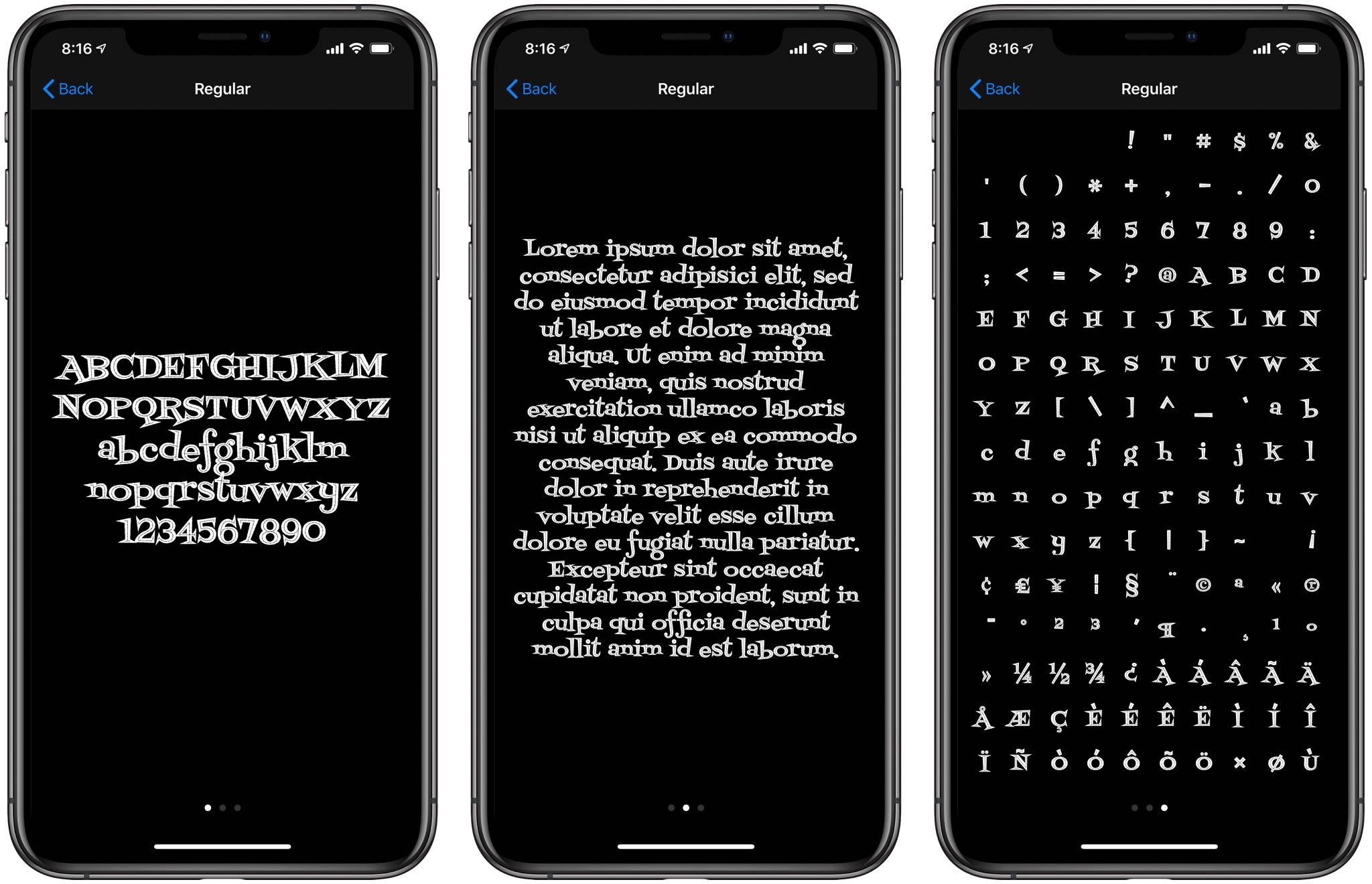 iPhone custom fonts