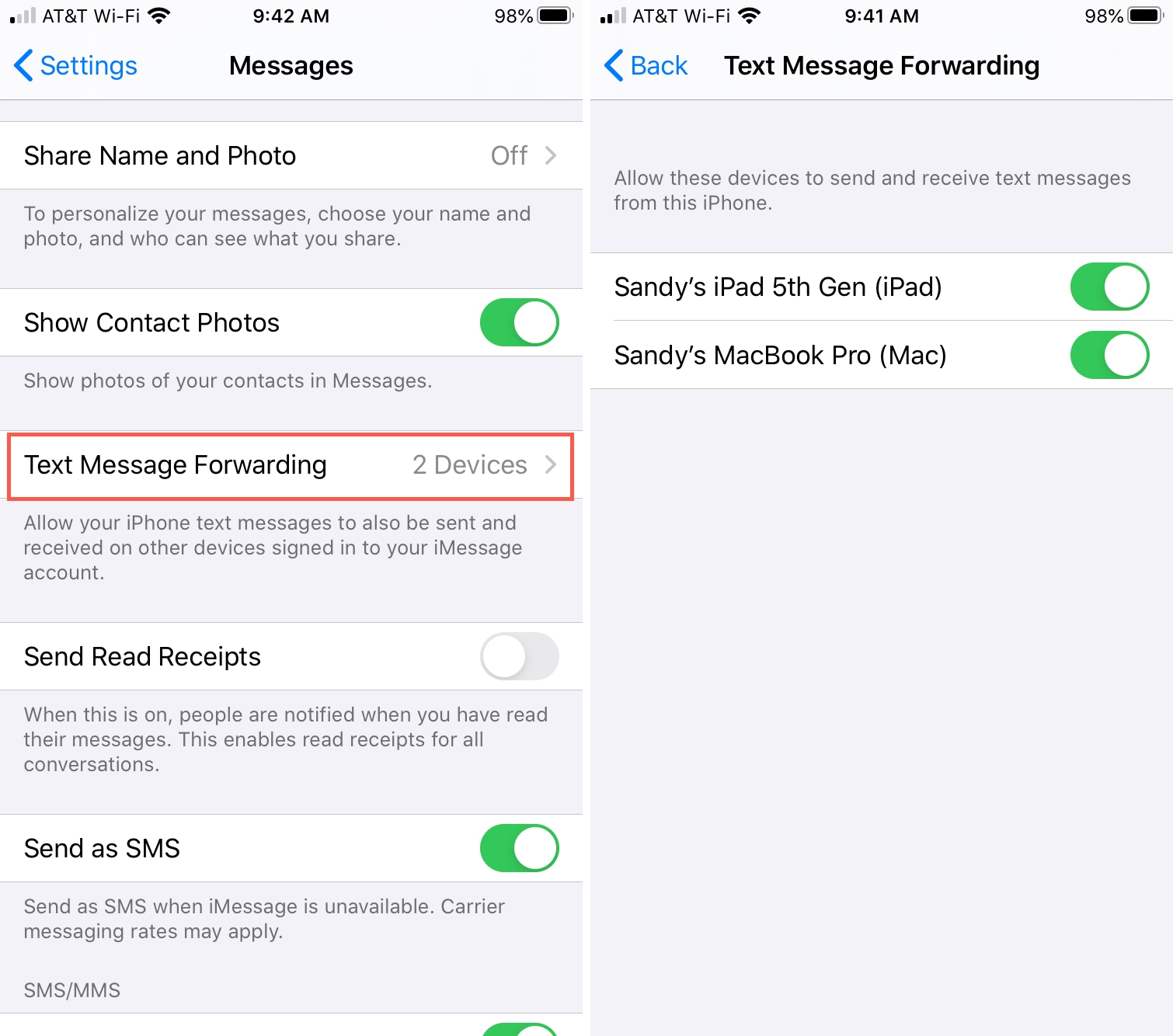 Forward Messages iPhone to Mac