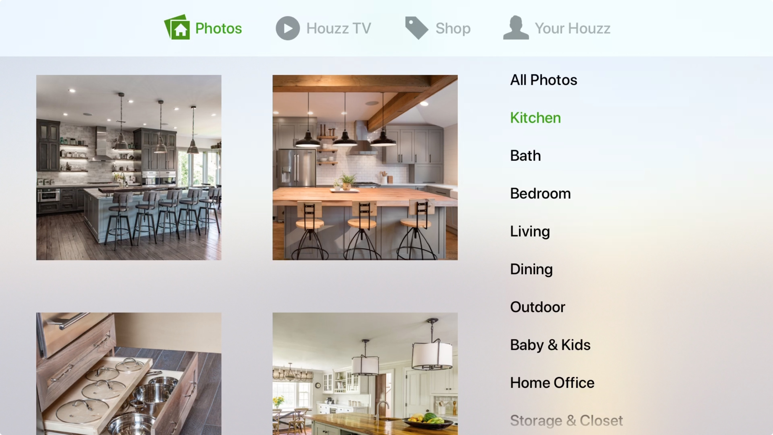 Houzz en Apple TV