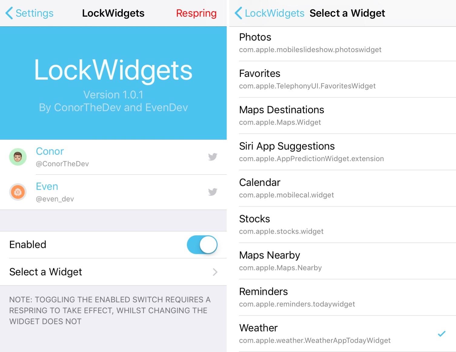 LockWidgets preferences