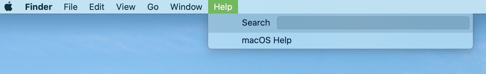 Mac Finder Help Menu Bar