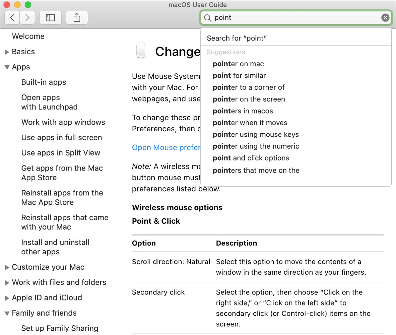 Mac Help Search