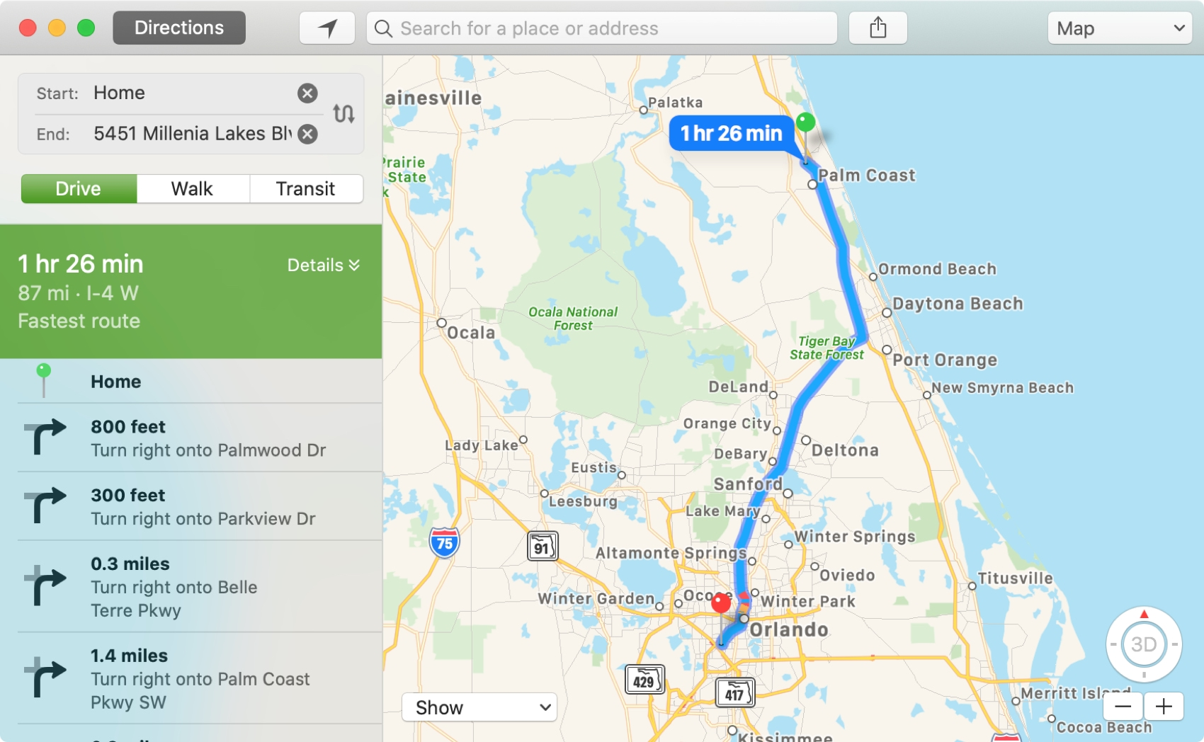 Map Directions on Mac