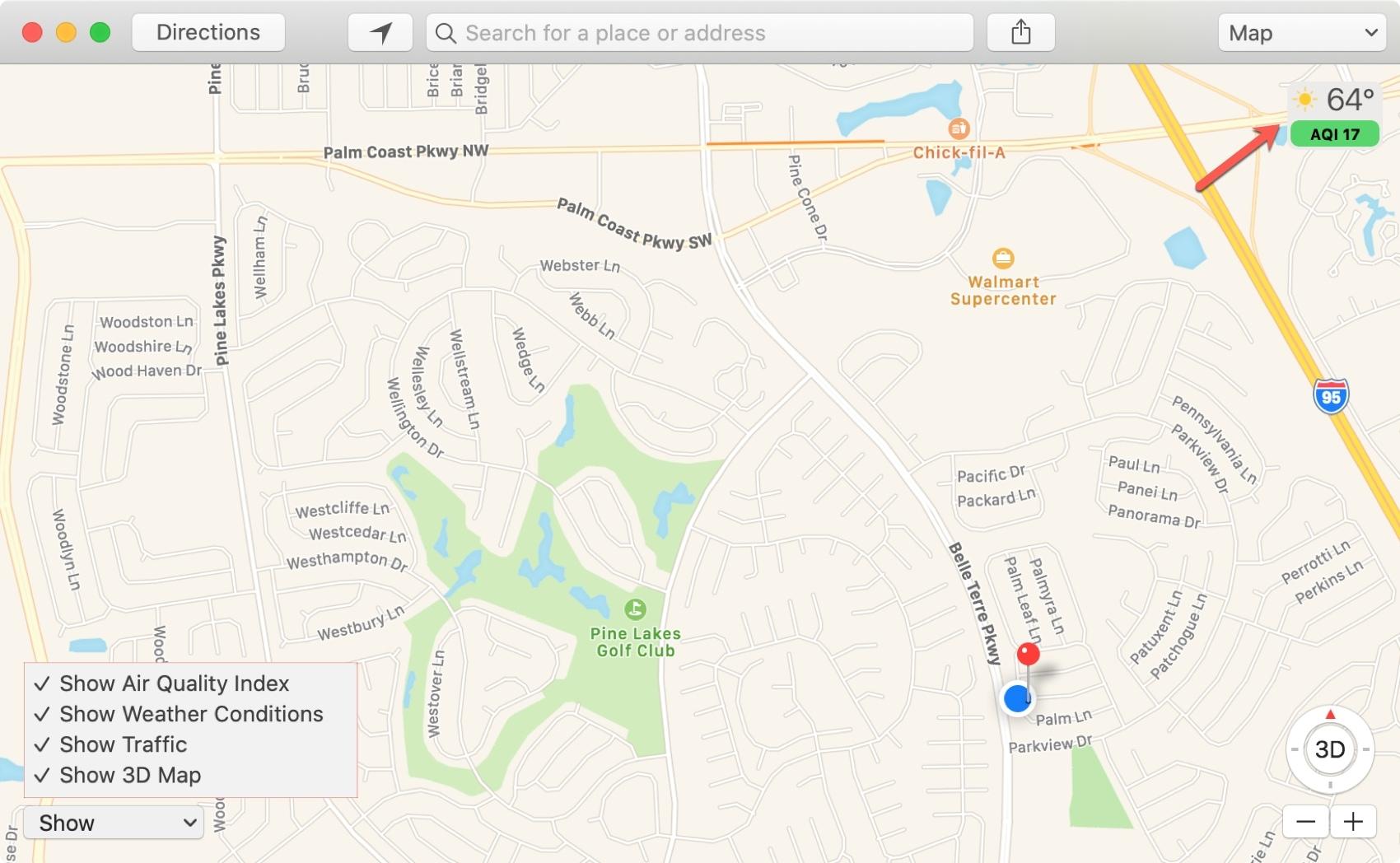 Map Show Options on Mac