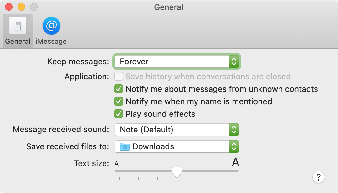 Messages Preferences on Mac
