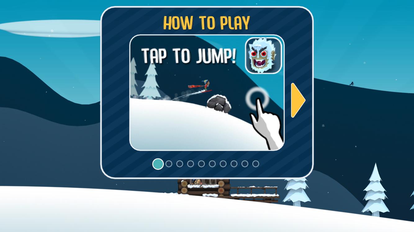 Ski Safari tutorial screen