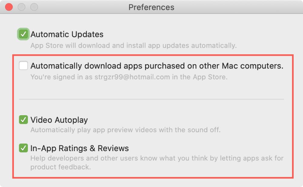Preferences Mac App Store