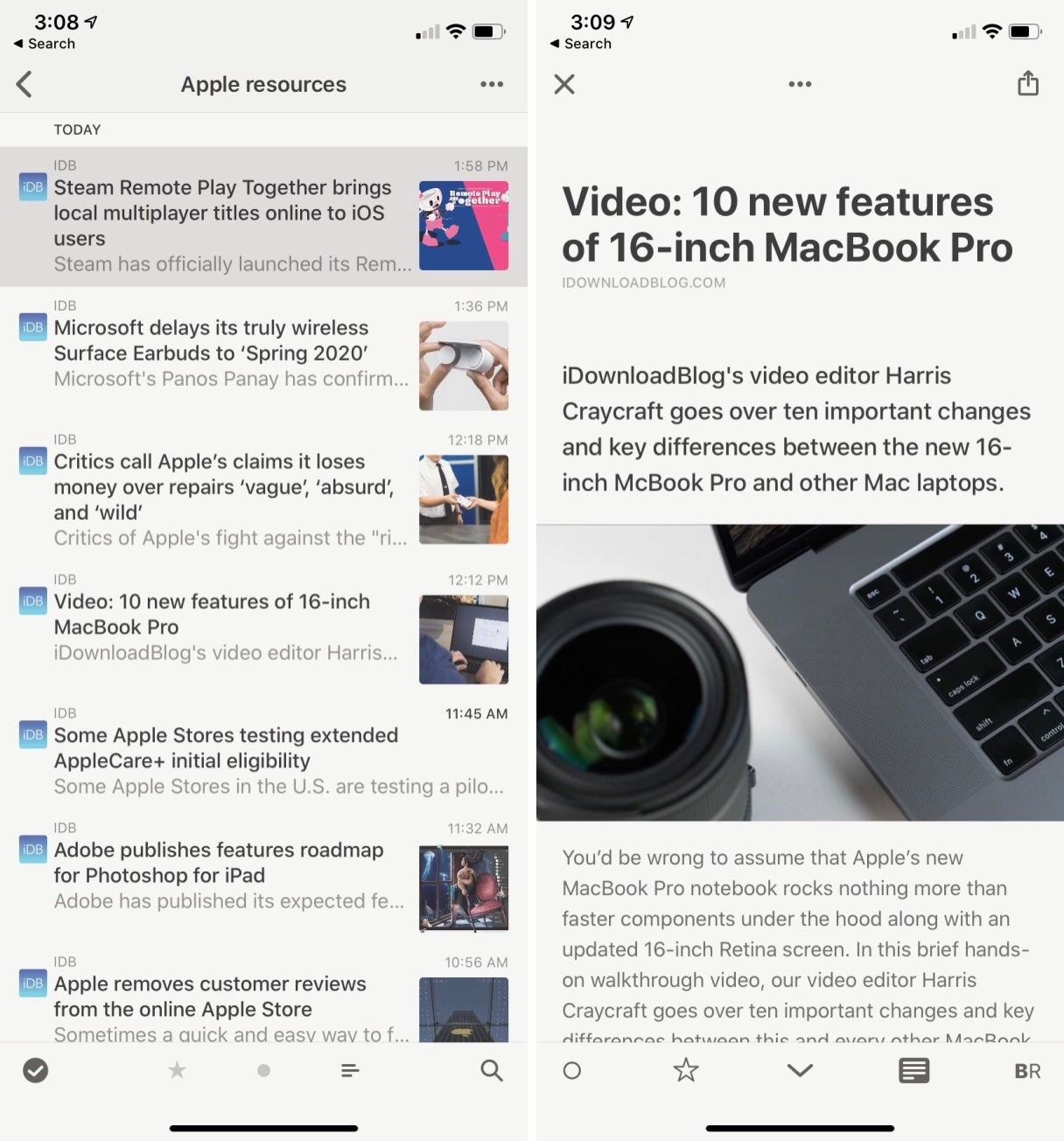Reeder 4 RSS reader on iPhone