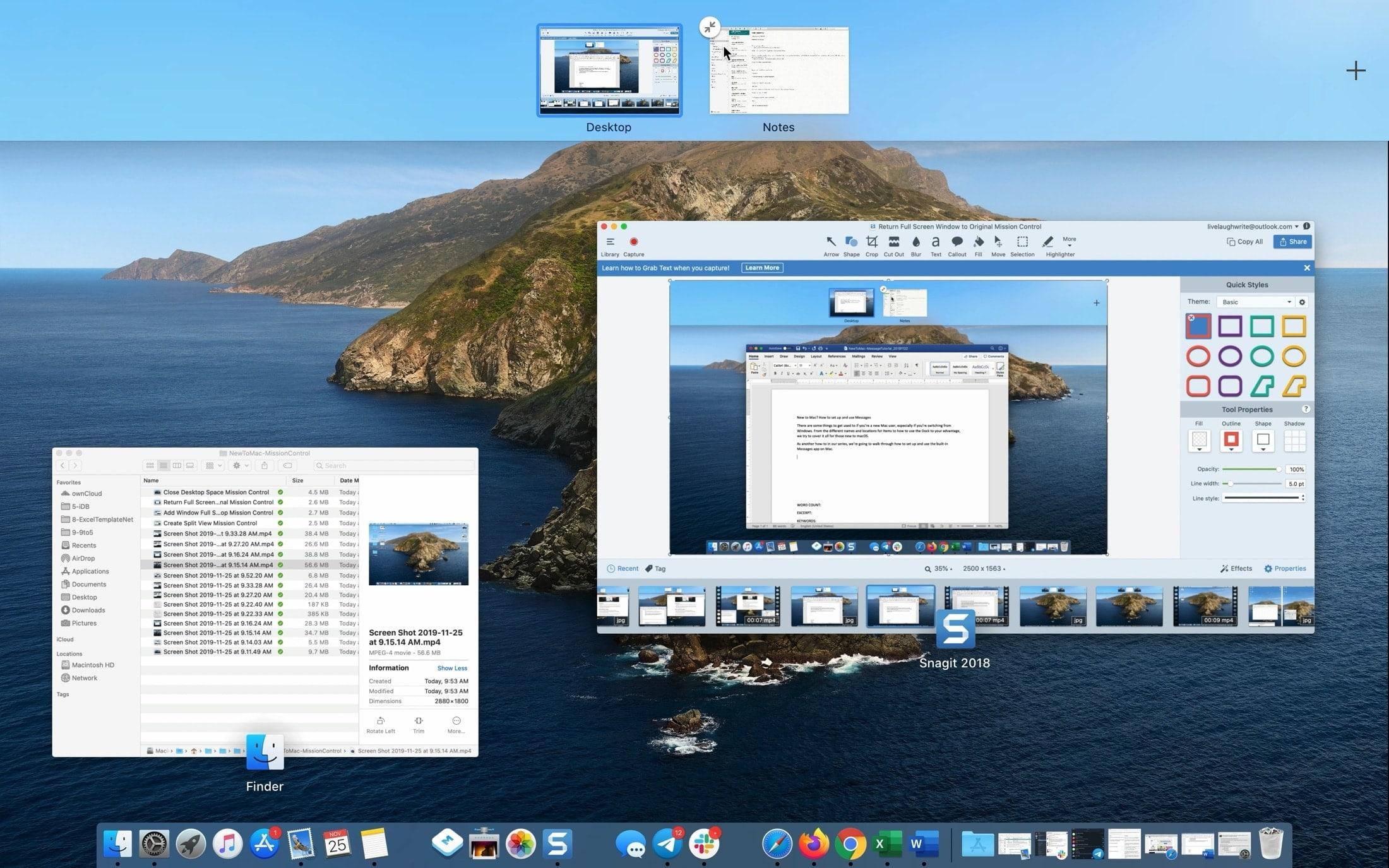 Return Full Screen Window to Original Mission Control
