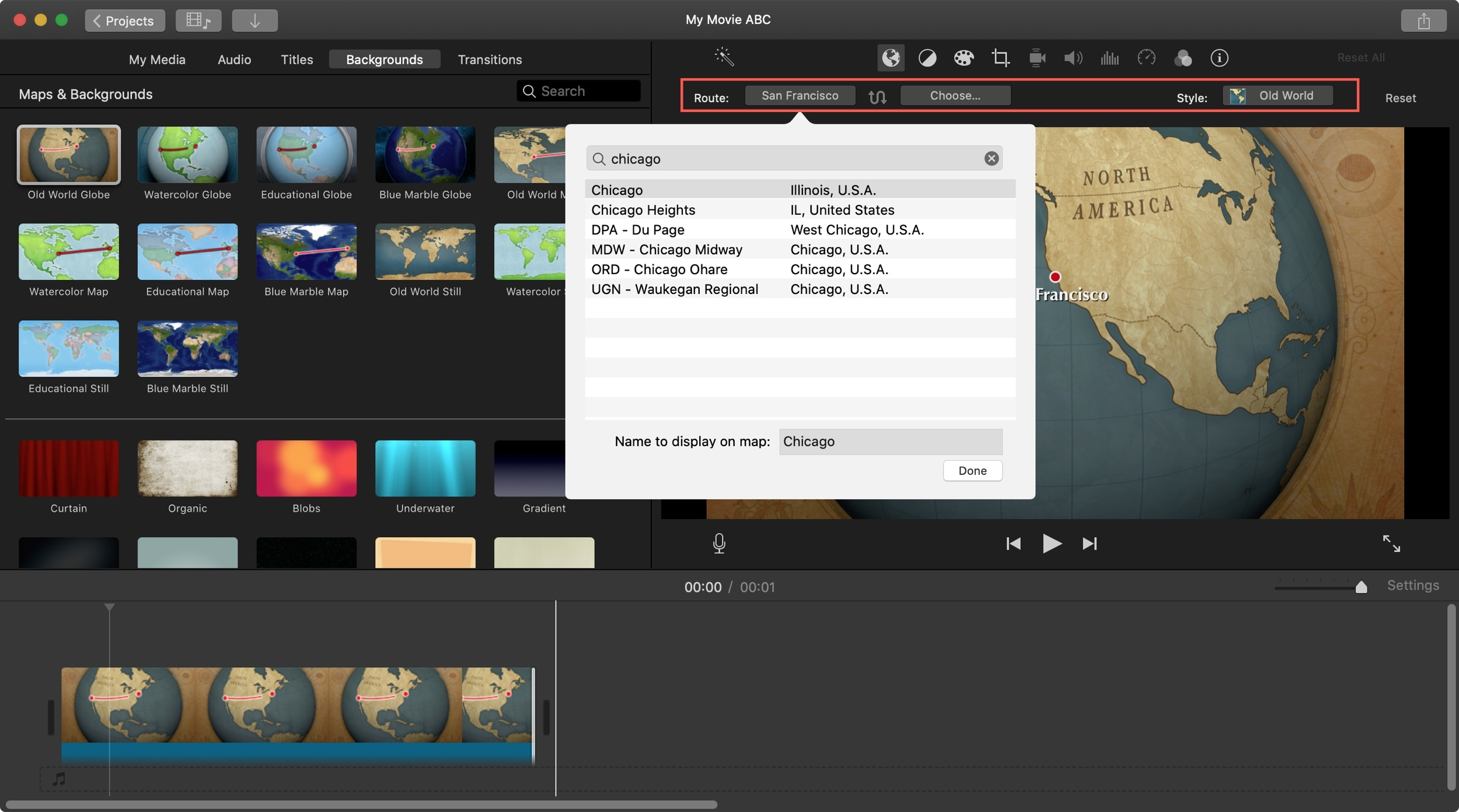 Route animated map background iMovie Mac
