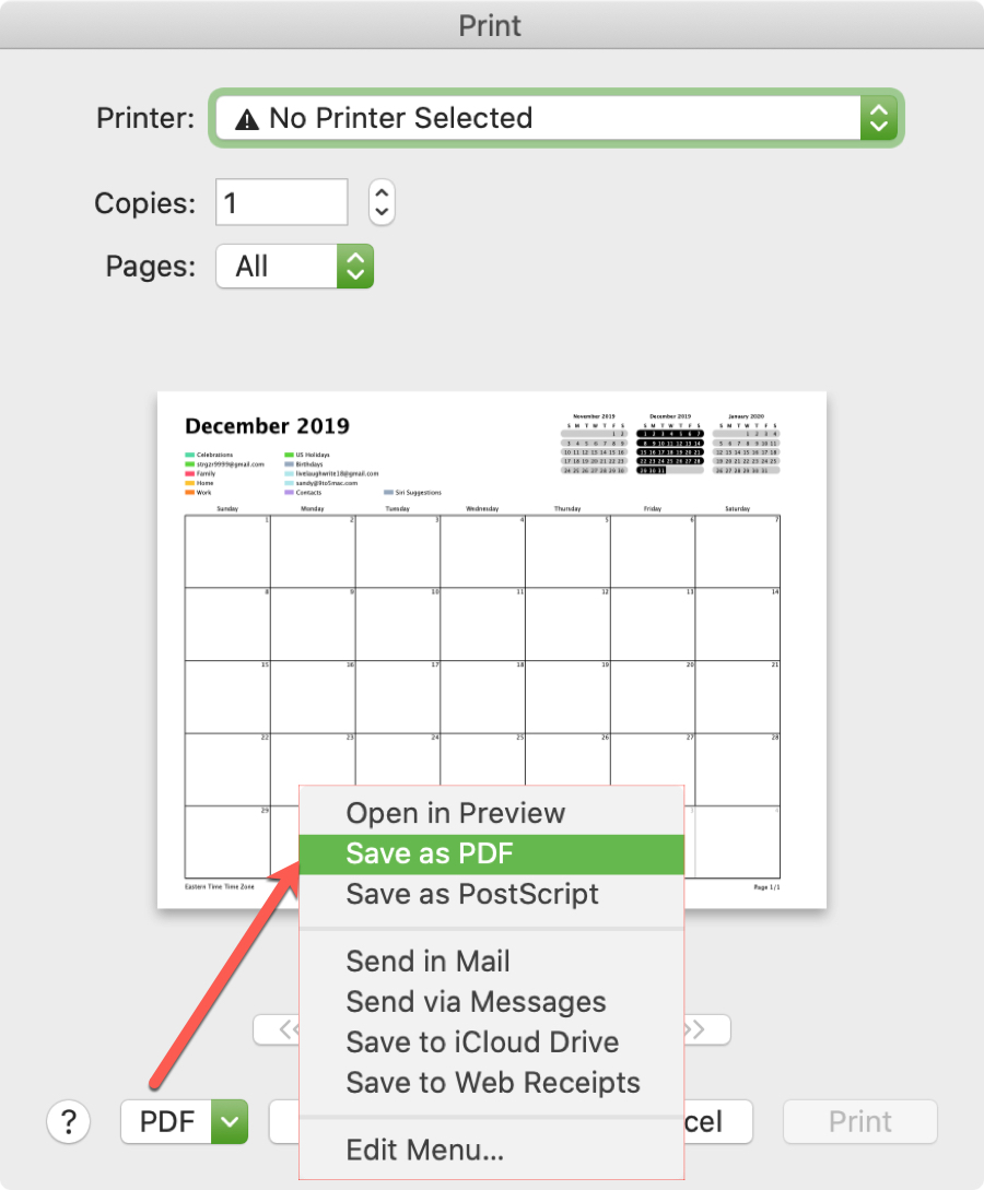 Save Calendar on Mac