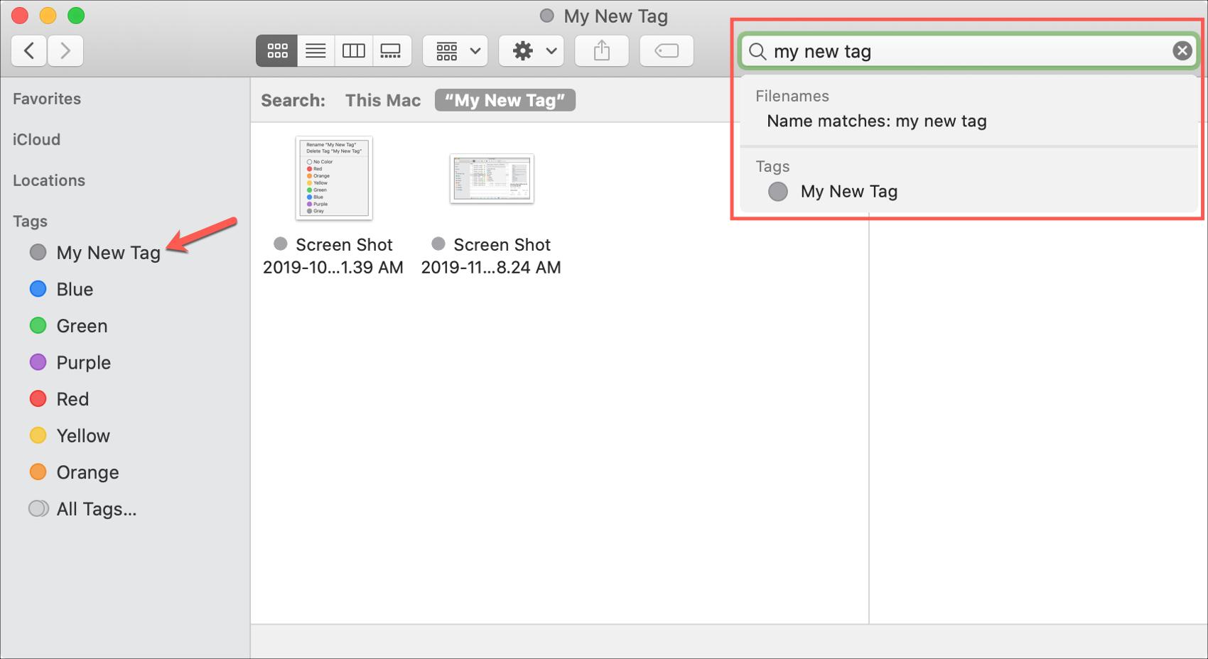 Search tag on Mac