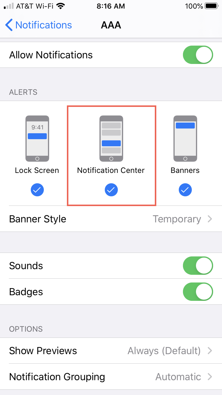 Settings Notification Center for app iPhone