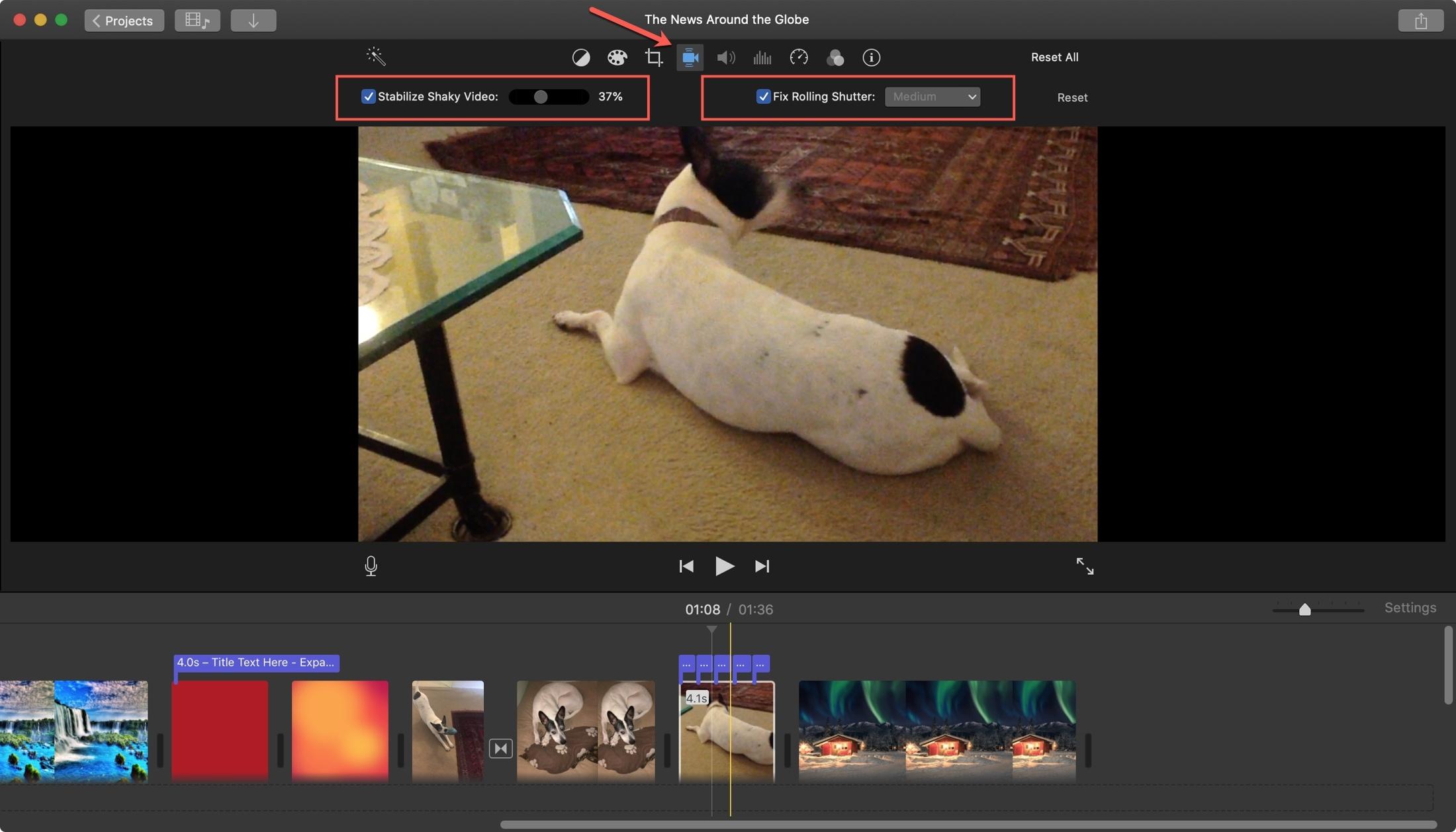 Shaky video and rolling shutter iMovie Mac