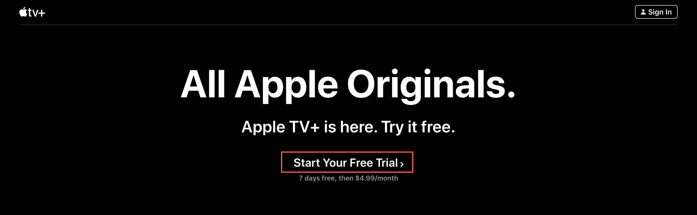 Start free trial Apple TV+ web