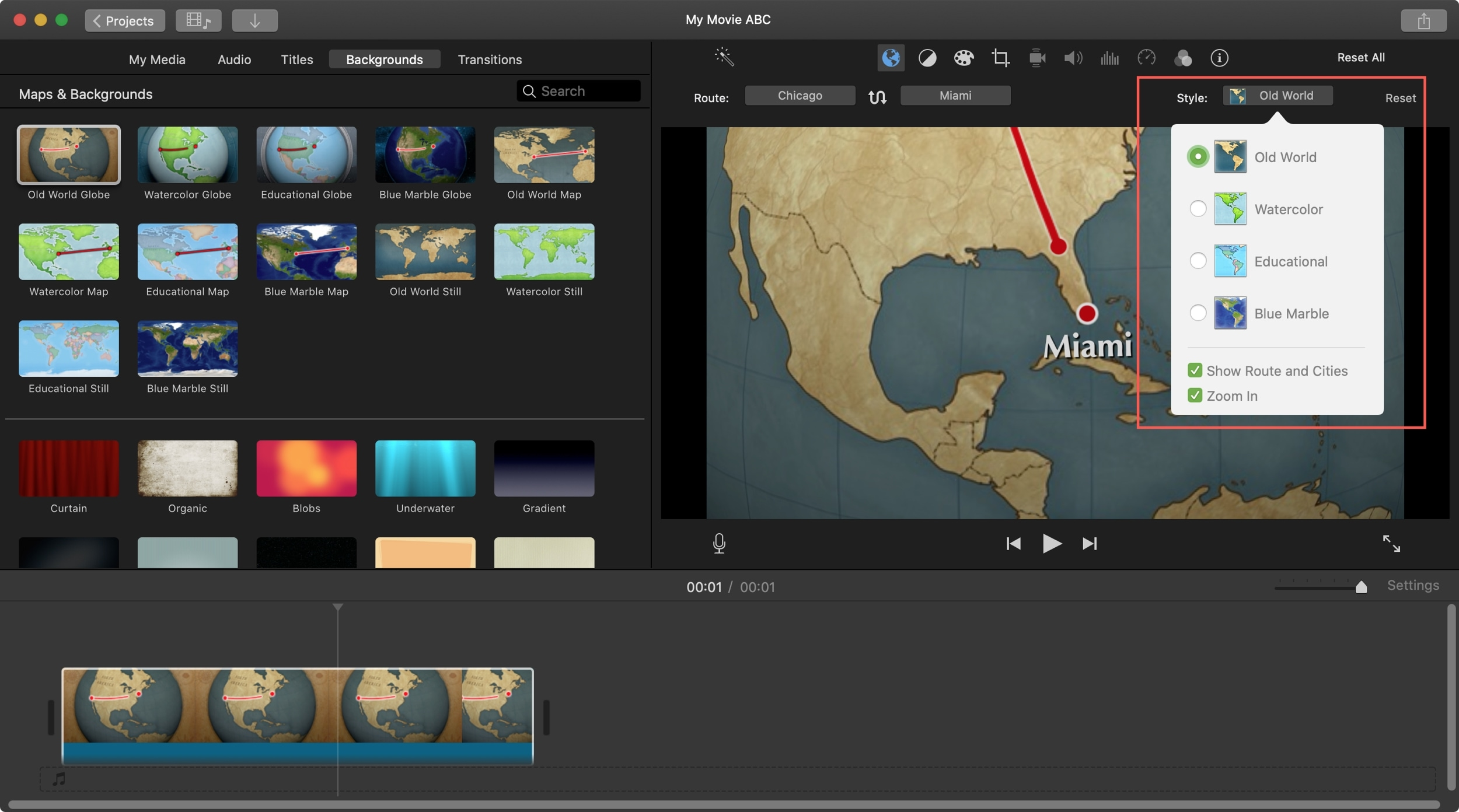 Style animated map background iMovie Mac