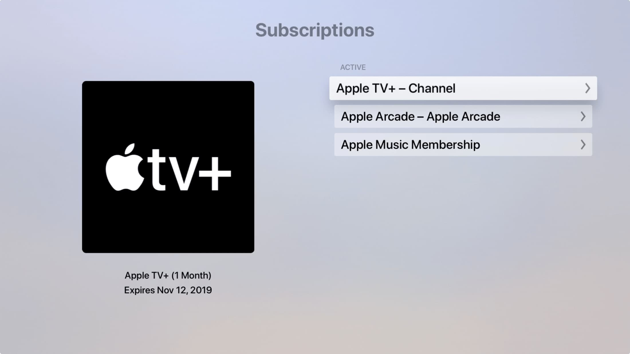 Subscriptions on Apple TV