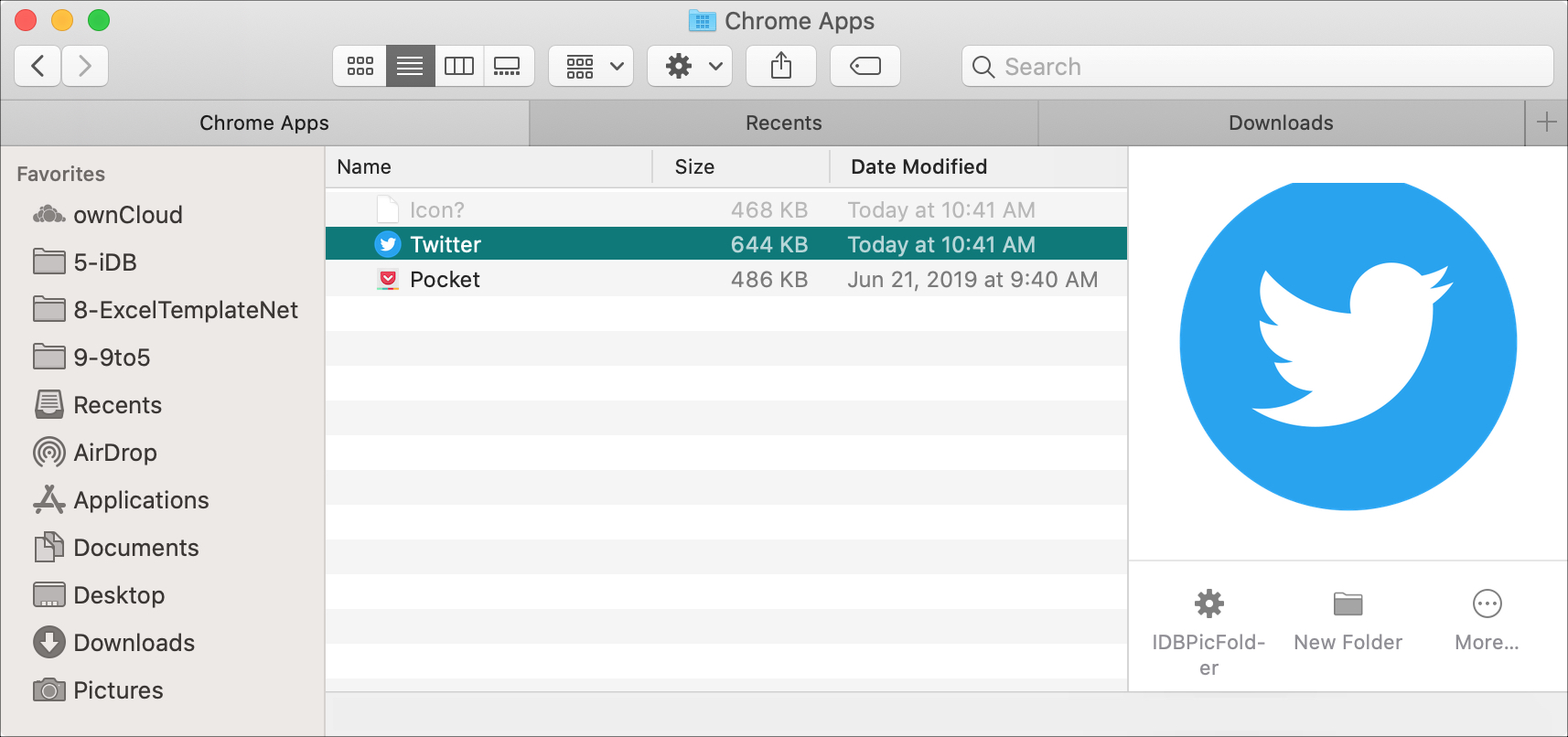 Twitter Chrome Apps Finder Folder Mac