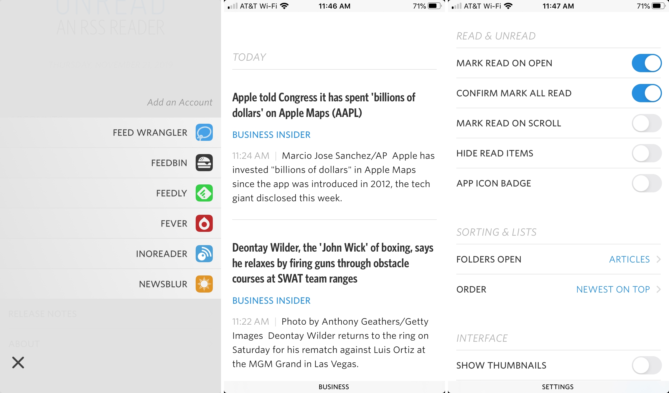 Unread iPhone RSS reader