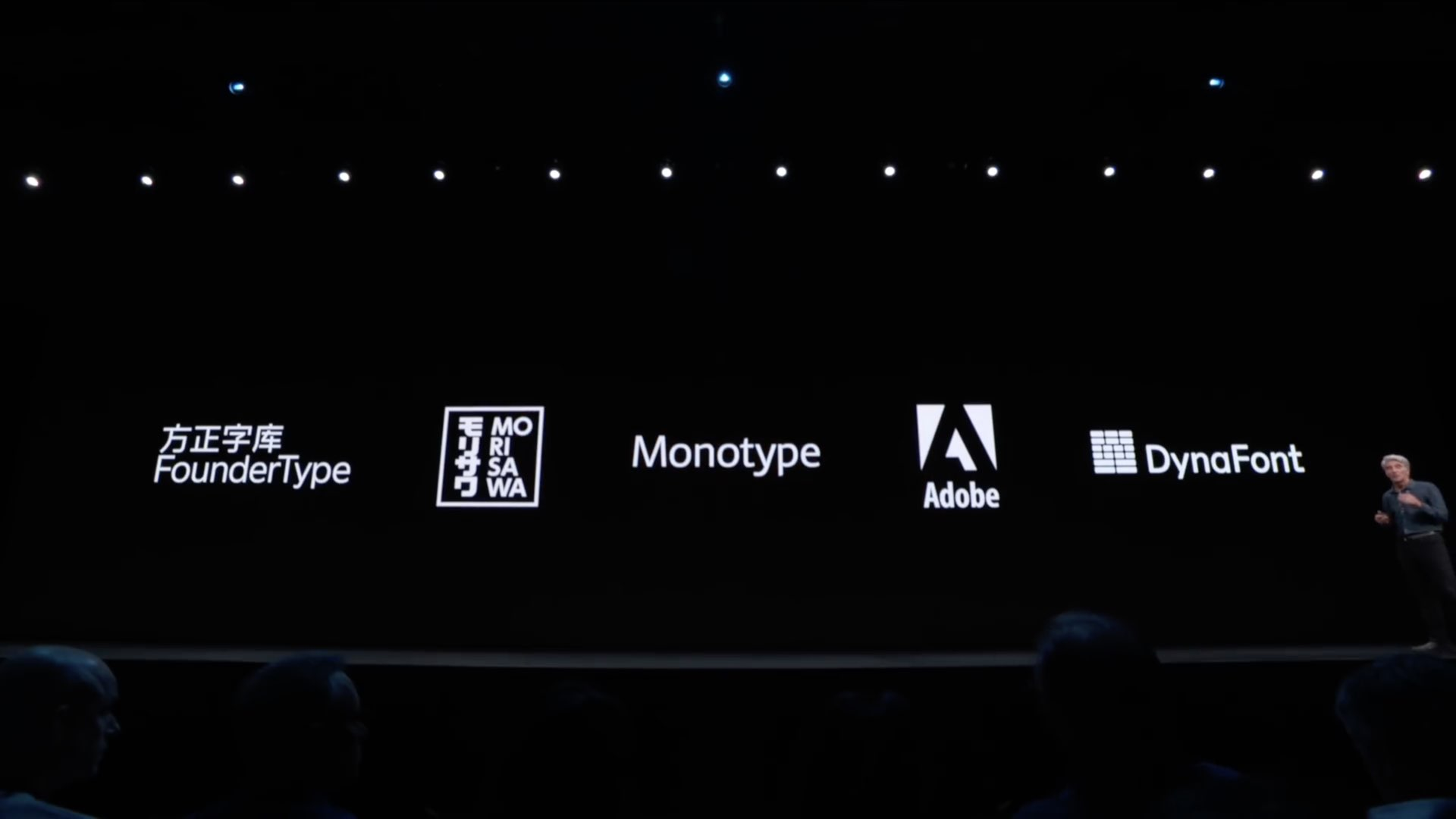 WWDC 2019 slide Craig Federighi iOS 13 font sources