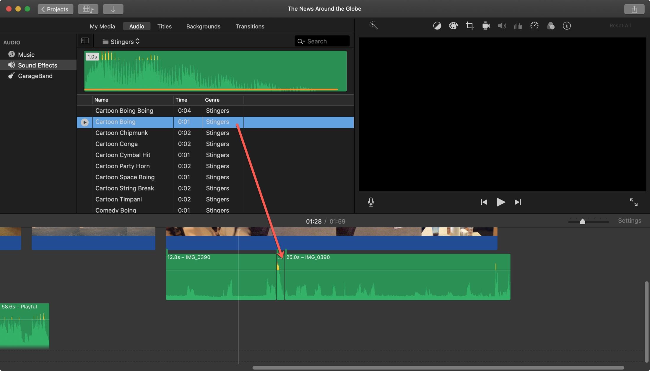 iMovie Add Sound Effect