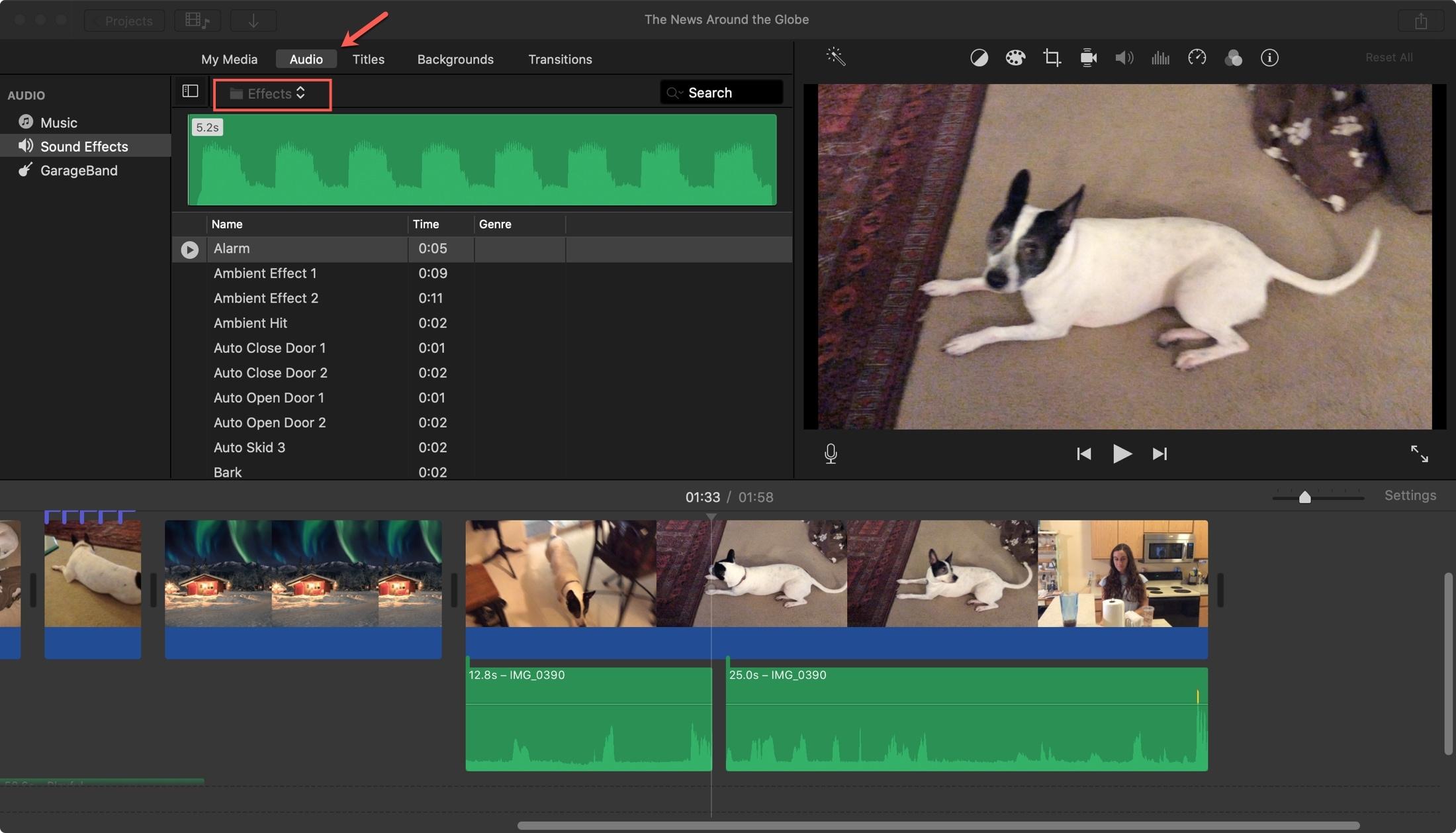 iMovie Audio Sound Effects